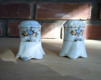 Nippon Salt/Pepper Shakers, Vintage Hand Painted Nippon, White Salt/Pepper Yellow/Blue Flowers , Porcelain Salt/Pepper Shakers, Gift