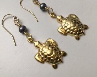 Sea Turtle Earrings, 24K Gold Vermeil, Freshwater Pearls, 14K Gold Filled Earwires, Nature, Ocean Beach Sea Turtles