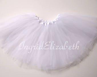 White 4-Layer Tutu, White Toddler Tutu, White Ballet Tutu, White Tutu Skirt, White Girls Tutu, White Dance Tutu, Tulle Skirt, Costume