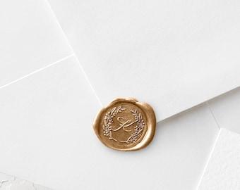 Monogram Wax Seal Stamp | Save The Date Wax Stamp | Sealing Wax | Custom Wedding Wax Stamper |  Laurel Wreath and Initial | Wax Sticks (231)