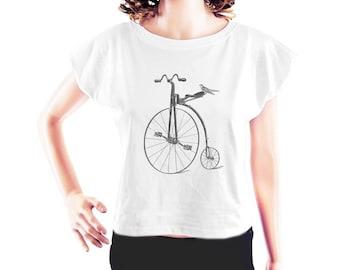 Big Wheel Bicycle Cuckoo Bird tshirt cute t shirt hipster top women workout t shirt slogan shirt women top crop top crop tee size S