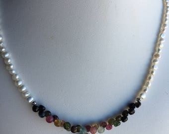 Necklace — Briolettes of Watermelon Tourmaline, Freshwater Pearl Coin and Pearls
