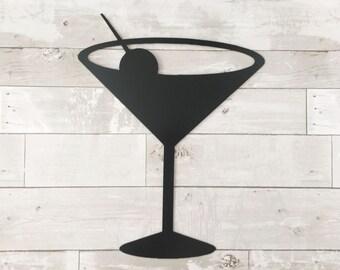 Metal Martini Glass - Martini Lovers - Metal Sign - Black Metal Sign - Martini Wall Decor - Bar Decor