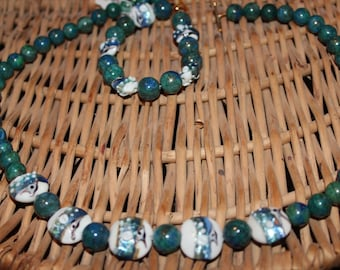 Lapis,, chrysicolla and lampwork necklace and bracelet set