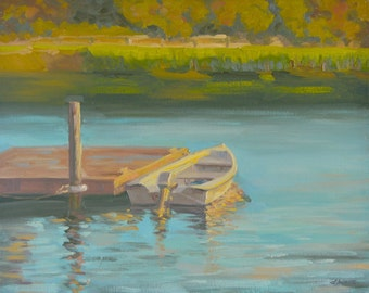 Sunset Beach - Oil Painting - Boat - Dock - Pier- Water - South Carolina - Pond - Lake - Plein Air - Seascape - Rowboat - Wharf - Landscape