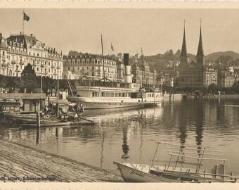 Luzern - Schweizerhofquai, Switzerland, Vintage Unused Postcard, ca. 1920