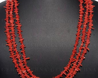 "3 Rows of Natural And Rare Red Mediterranean Coral Necklace With Sterling Silver 20""-24"" Inches Adjustable Clasp  NP1313"