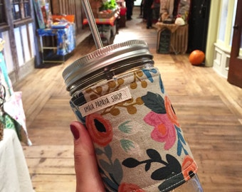 SLEEVE ONLY, Mason Jar Tumbler, Rifle Paper, Reusable Cup to Go, Mason Jar Sleeve, Cozy, Mason Jar, Gift for Her, Drinking Glass