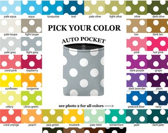 Auto Pocket - Jumbo Polka Dots - PICK YOUR COLOR - Car Accessory Automobile Caddy - polkadots