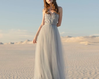 Blue and gray wedding dress / Tulle wedding gown