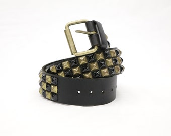 Checkerboard Black/Brass Pyramid Studded Black Leather Belt