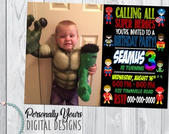 Superhero Inspired Birthday Invitation