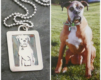 Sterling Boxer Dog Necklace, Your Pet as a Pendant personalized, memorial jewelry, Solid Back, Full Body style