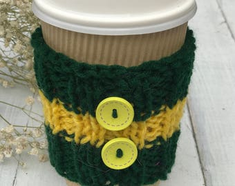 knitted coffee cozy, green and yellow, coffee sleeves