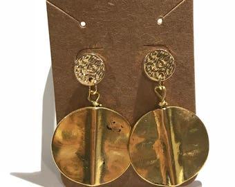 Hammered Earrings | Gold earrings | Boho Earrings | Coin Earrings |