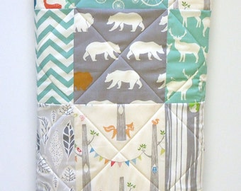 Mint Baby Quilt, Birch Fabric, Rustic Baby Boy Bedding, Gray, Grey, Aqua, Woodland Animal, Elk, Owl, Bear, Deer Baby Blanket, Forest Animals