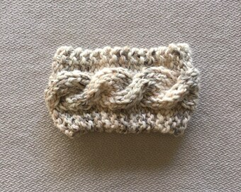 Cable knit earwarmer headband - chunky knit neutral grey and tan