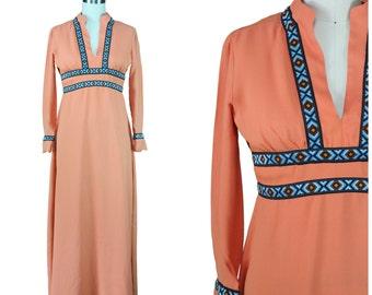 Low V Maxi Dress / Boho Aztec Trim Dress / 60s 70s Boho Maxi Dress / Hippie Festival Maxi Dress / Vintage Festival Maxi Dress / Low V Neck
