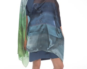 Silk satin shawl Silver Feathers Hand painted silk scarf Ombre scarves Apple green blue scarf Large luxurious shawl Bridal accessory КА18