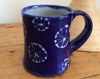 Pottery Handmade, Indigo/White Coffee Cup