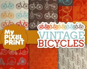 Vintage Bicycles - Red Orange Yellow Gray - Ride Monocyle Two Wheeler Wheels Bikes Pattern- Digital Scrapbooking Paper Pack - My Pixel Print