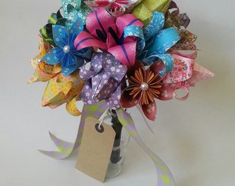 Paper Anniversary Gift Origami Bouquet Tulip Lily Daisy Colourful Alternative Paper Flowers Mother's Day Lily Daisy