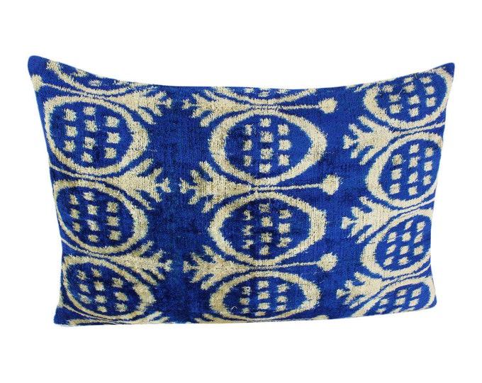 Silk Velvet Ikat Pillow Cover VP114, Bohemian pillow, Velvet Ikat Pillow, Velvet Pillow, Velvet Pillow Cover, Ikat Pillows, Throw Pillows