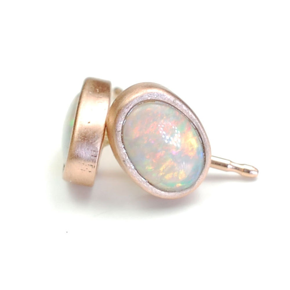 Opal Earrings Opal Studs Rose Gold Opal Earrings Pink Gold