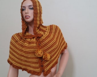Kitted and crochet  hoddie, cape