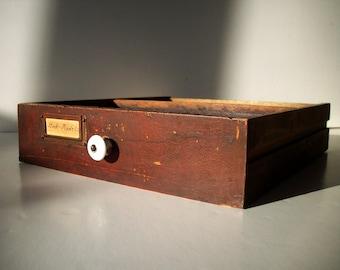 Vintage Wood Drawer with Porcelain Knob and Label Hardware / Storage Organization / Distressed Varnish Front / Chestnut Warm Brown Red