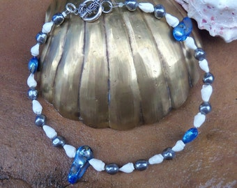 Blue and white seashell ankle bracelet - seashells and pearls anklet - Large anklet