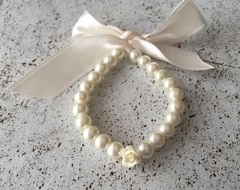 Childrens Pearl Jewelry, Flower Girl Ivory Bracelet, Toddler Bracelet, Infant Bracelet, Bridesmaids Gift, Flower Girl Jewelry