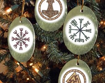 Set of Four Viking, Heathen, Asatru Symbols Yule/Winter Solstice Ornaments