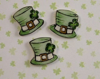 St. Patrick's Hat Button set of 3