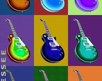 Leiper's Fork, Tennessee - Guitar Pop Art (Art Prints available in multiple sizes)