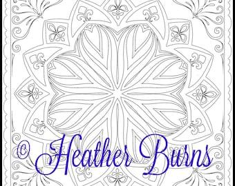 Coloring Page/Art Nouveau Flower Mandala/Adult Coloring/Mandala Coloring/Colouring Page