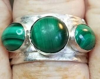 Sterling silver multistone malachite ring