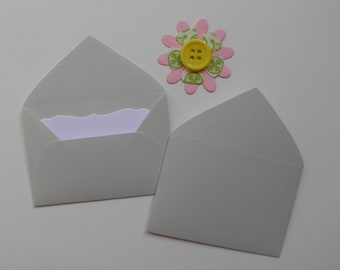 Grey Mini envelopes with inserts, Paper ephemera, Paper embellishments, Journaling, Project Life, Little party favors, Sets of 10, 25, 50