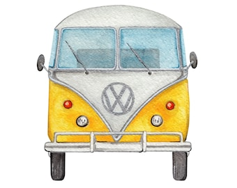 Watercolor effect volkswagen van, print A3