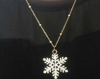 Large Snow Flake Pendant Necklace, Crystal Snow Flake Pendant