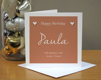 Personalised January Colour Birthday Card - Caramel Birthday Card - Birth Month Colour - Card For Her - Cards For Women/Wife/Mum