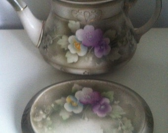 F & S Oxfordware beautiful teapot and stand violet and pale flowers on a neutral background