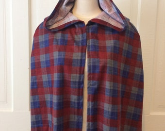Blue, Red and Gray Plaid Hooded Cloak - Limited Edition**