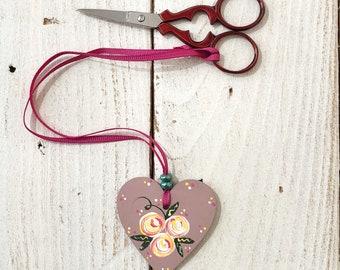 heart scissor fob, embroidery scissor fob, scissor dangle, hanging heart, crochet supplies, knitting tools, cross stitch gift