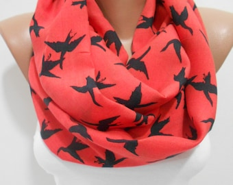 Bird Scarf Red Scarf   Gift For Mom Gift For Wife Infinity Scarf Winter Scarf Accessory Valentines Day Gift For Women Gift For Her SCARFCLUB