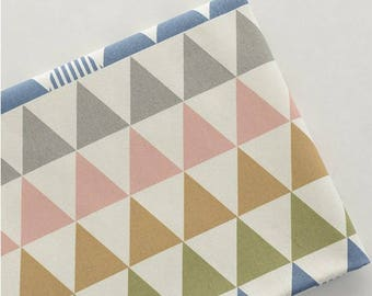 1 x cotton linen blend 50x140cm patchwork sewing geometry triangle fabric coupon