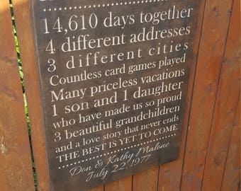 "Personalized Carved Wooden Sign - ""Years Happily Married ..."" - Milestone; Anniversary; History Together"