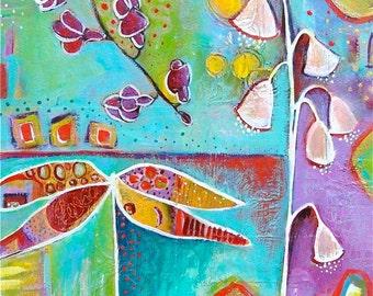 Original Contemporary Giclee print Dragonfly & Flowers titled GARDEN SPLENDOR