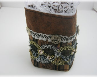 Steampunk Lace n Buttons Fabric Bracelet Cuff