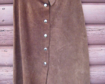 Rust Colored Boho Suede Skirt Mid Calf Length